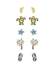 Kim Rogers Silver-Tone Coastal Breeze 5-Piece Earring Boxed Set