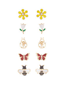Kim Rogers Gold-Tone In The Garden 5-Piece Stud Earring Boxed Set