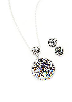 Kim Rogers Silver-Tone Bali Medallion Pendant and Button Earring Set