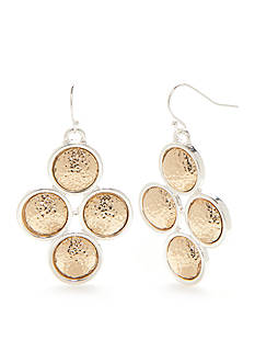 Kim Rogers Two-Tone Hammered Cluster Drop Earrings