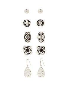 Kim Rogers Silver-Tone Bali 5-Piece Boxed Earring Set