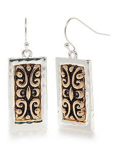 Kim Rogers Two-Tone Bali Rectangle Drop Earrings