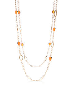 Kim Rogers Gold-Tone Cat Eye Long Necklace