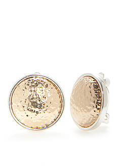 Kim Rogers Two-Tone Hammered Button Clip Earrings