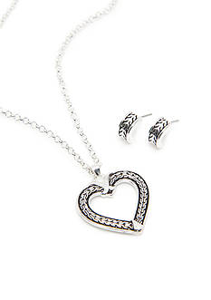 Kim Rogers Silver-Tone Bali Heart Pendant and Hoop Earring Set