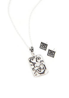 Kim Rogers Silver-Tone Bali Square Pendant and Earring Set