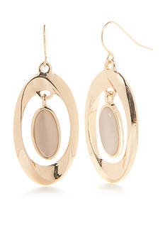 Kim Rogers Gold-Tone Cat Eye Orbital Drop Earrings