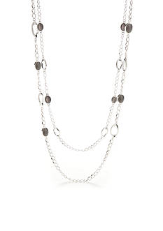 Kim Rogers Silver-Tone Cat Eye Long Necklace