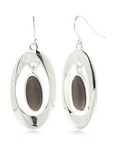 Kim Rogers Silver-Tone Cat Eye Orbital Drop Earrings
