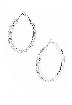 Kim Rogers Clear Crystal Rhinestone Hoop Earrings