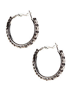 Kim Rogers Jet Rhinestone Hoop Earrings