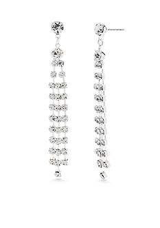 Kim Rogers Silver-Tone Crystal Linear Drop Earrings