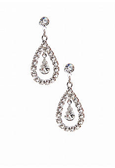 Kim Rogers Open Teardrop with Single Inset Teardrop Post Earrings