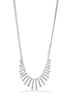 Kim Rogers Silver-Tone Graduated Crystal Stick Necklace
