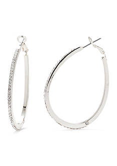 Kim Rogers Silver-Tone Crystal Teardrop Hoop Earrings