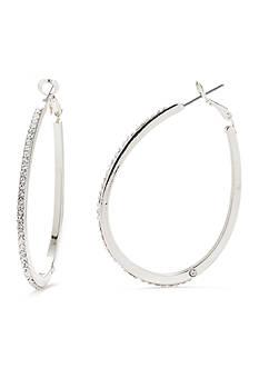 Kim Rogers Silver-Tone Crystal Teardrop Hoop Earrings