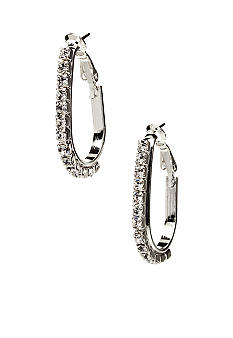 Kim Rogers Rhinestone Oval Hoop Post Earrings