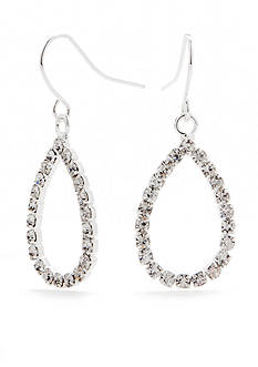 Kim Rogers Silver-Tone with Crystal Teardrop Drop Earrings