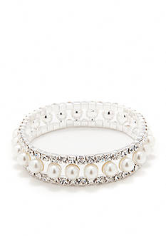 Kim Rogers Silver-Tone Crystal Pearl Three-Row Stretch Bracelet