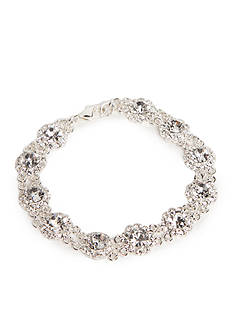 Kim Rogers Silver-Tone with Crystal Floral Motif Strand Bracelet