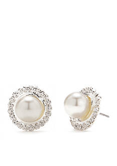 Kim Rogers Silver-Tone Crystal Pearl Button Earrings