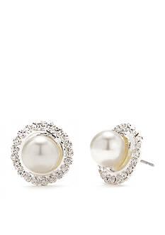 Kim Rogers Silver-Tone Crystal Pearl Button Earrings