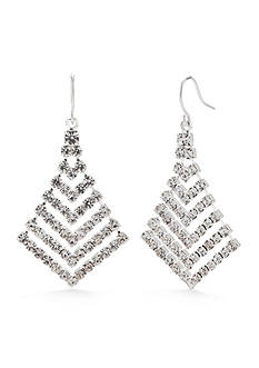 Kim Rogers Silver-Tone Crystal Graduated Chevron Drop Earrings