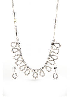 Kim Rogers Silver-Tone with Crystal Loop Necklace and Earrings Set
