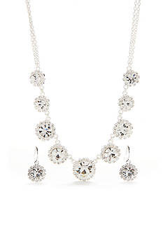 Kim Rogers Silver-Tone with Crystal Floral Motif Necklace and Earrings Set