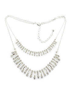 Kim Rogers Silver-Tone Crystal Layered Necklace
