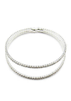 Kim Rogers Silver-Tone Crystal Double Row Cuff Bracelet