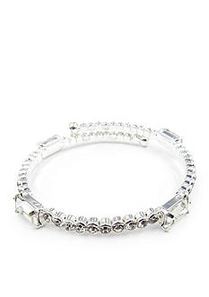 Kim Rogers Silver-Tone Crystal Baguette Coil Bracelet