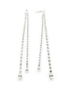 Kim Rogers Silver-Tone Crystal Dangle Drop Earrings