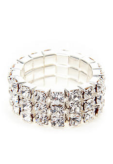 Kim Rogers Rhinestone Three Row Stretch Ring