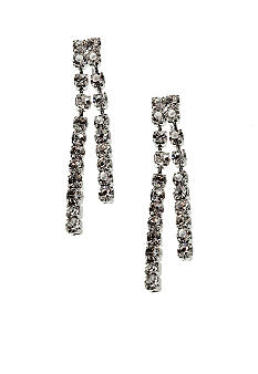 Kim Rogers Rhinestone Two Row Linear Post Earrings