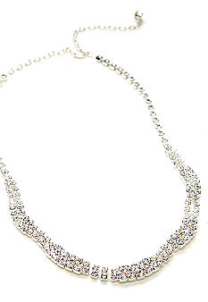 Kim Rogers® Rhinestone Wave Design Frontal Necklace