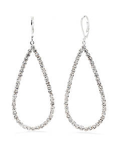 Kim Rogers Silver-Tone Crystal Teardrop Drop Earrings