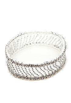 Kim Rogers Rhinestone and Diagonal Bead Chain Stretch Bracelet