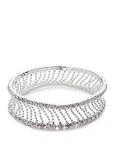 Kim Rogers Silver-Tone Crystal Stretch Bracelet