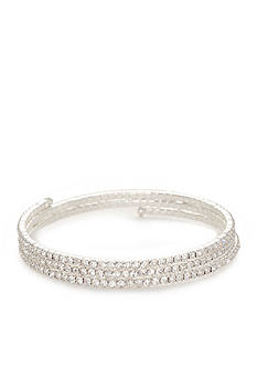 Kim Rogers Silver-Tone Crystal Three Row Coil Bracelet
