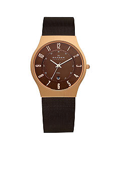 Skagen Rose Gold and Brown Mesh