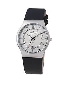Skagen Black Leather Watch