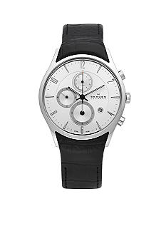 Skagen Black and Silver Steel Watch