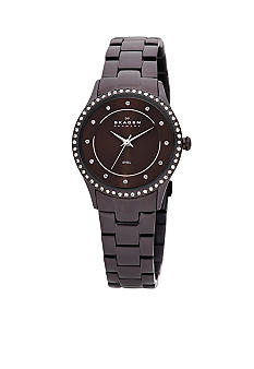 Skagen Brown Link Watch with Glitz