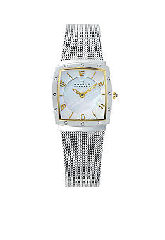 Skagen Two-Tone Square with Glitz Watch