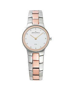 Skagen Silver and Rose Gold Link Watch