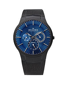 Skagen Black and Blue Mesh Multifunction Watch