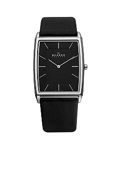 Skagen Steel Black Leather Watch