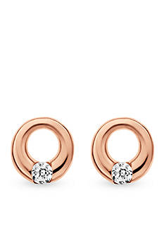 Skagen Rose Gold-Tone Elin Crystal Circle Earrings