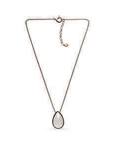 Skagen Rose Gold-Tone White Sea Glass Pendant Necklace